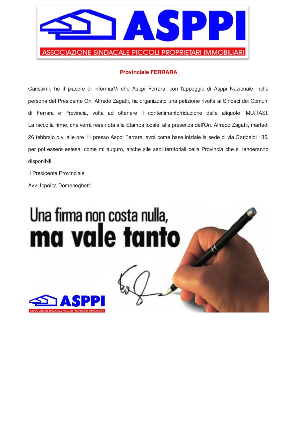 ASPPI Ferrara – Petizione per contenimento riduzione aliquote IMU/TASI per Comune di Ferrara e provincia