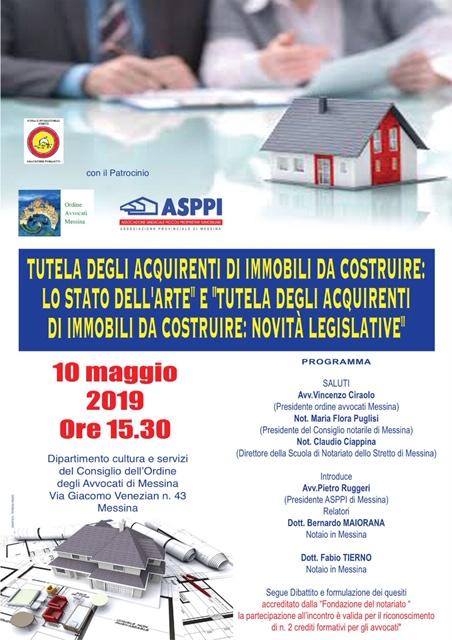ASPPI Messina: 10 maggio ore 15.30 Tutela degli acquirenti di immobili da costruire