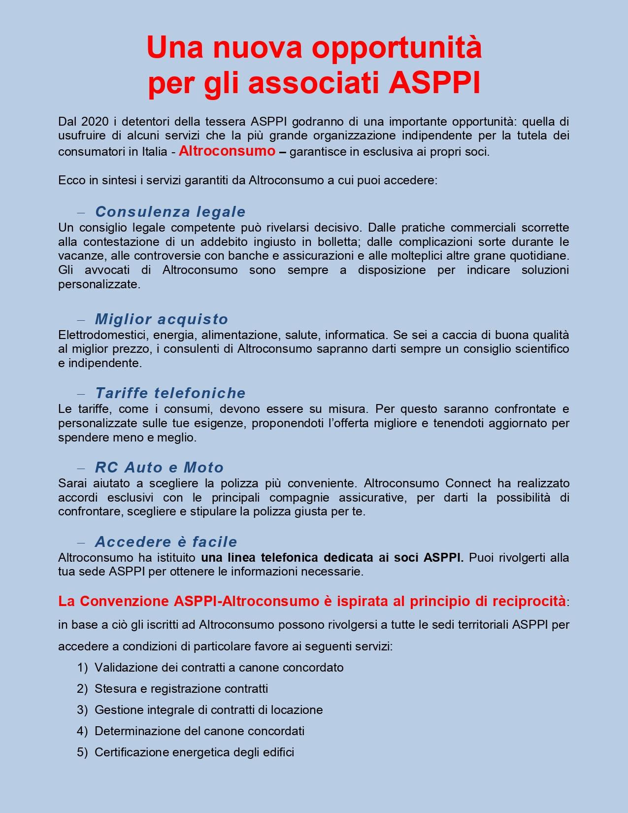 Una nuova opportunità per gli Associati ASPPI – Convenzione con Altroconsumo