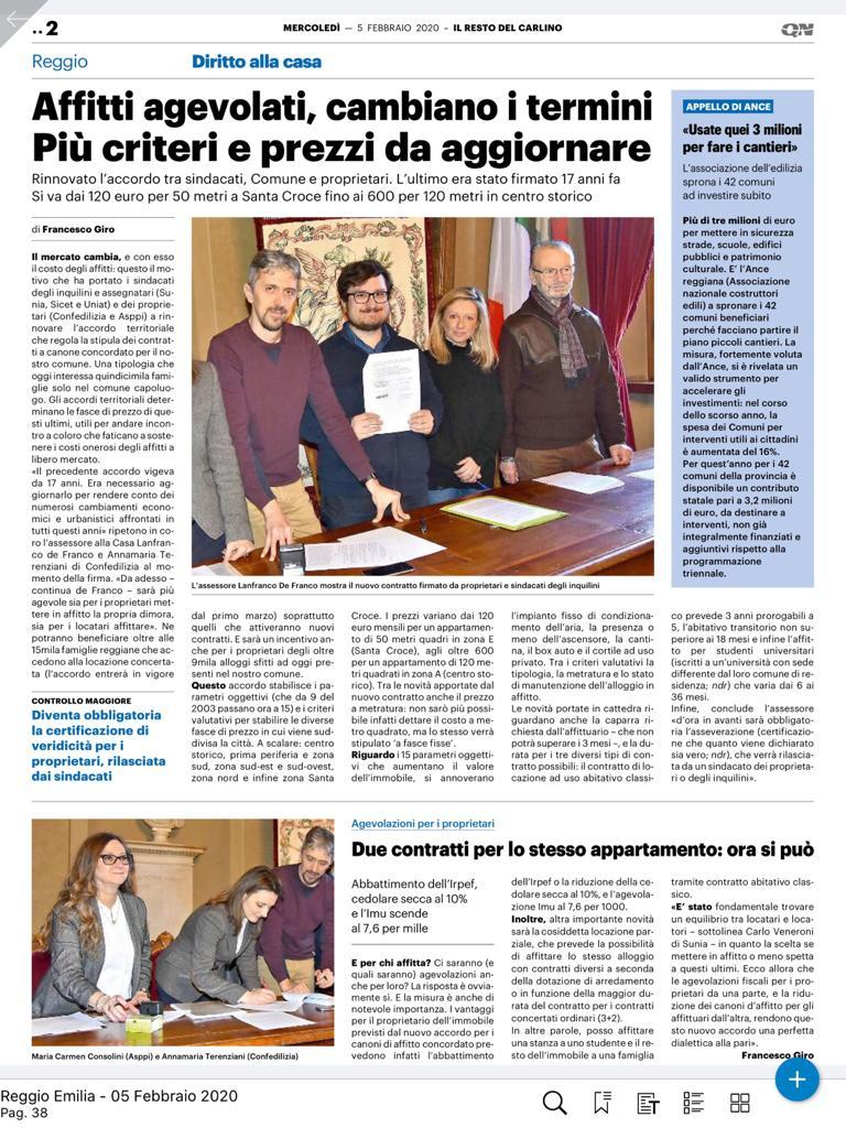 ASPPI Reggio Emilia: CASA – OGGI LA FIRMA DEL NUOVO ACCORDO PER I CANONI DI AFFITTO CONCORDATI