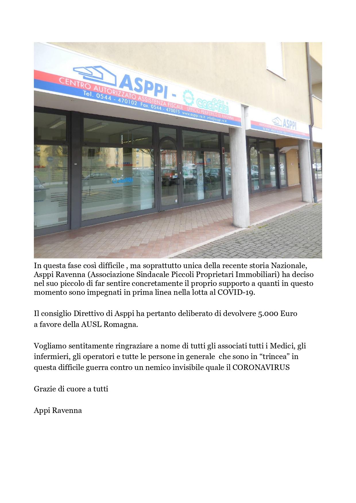 Asppi Ravenna: Donazione a favore della AUSL Romagna impegnata in prima linea nella lotta al COVID-19