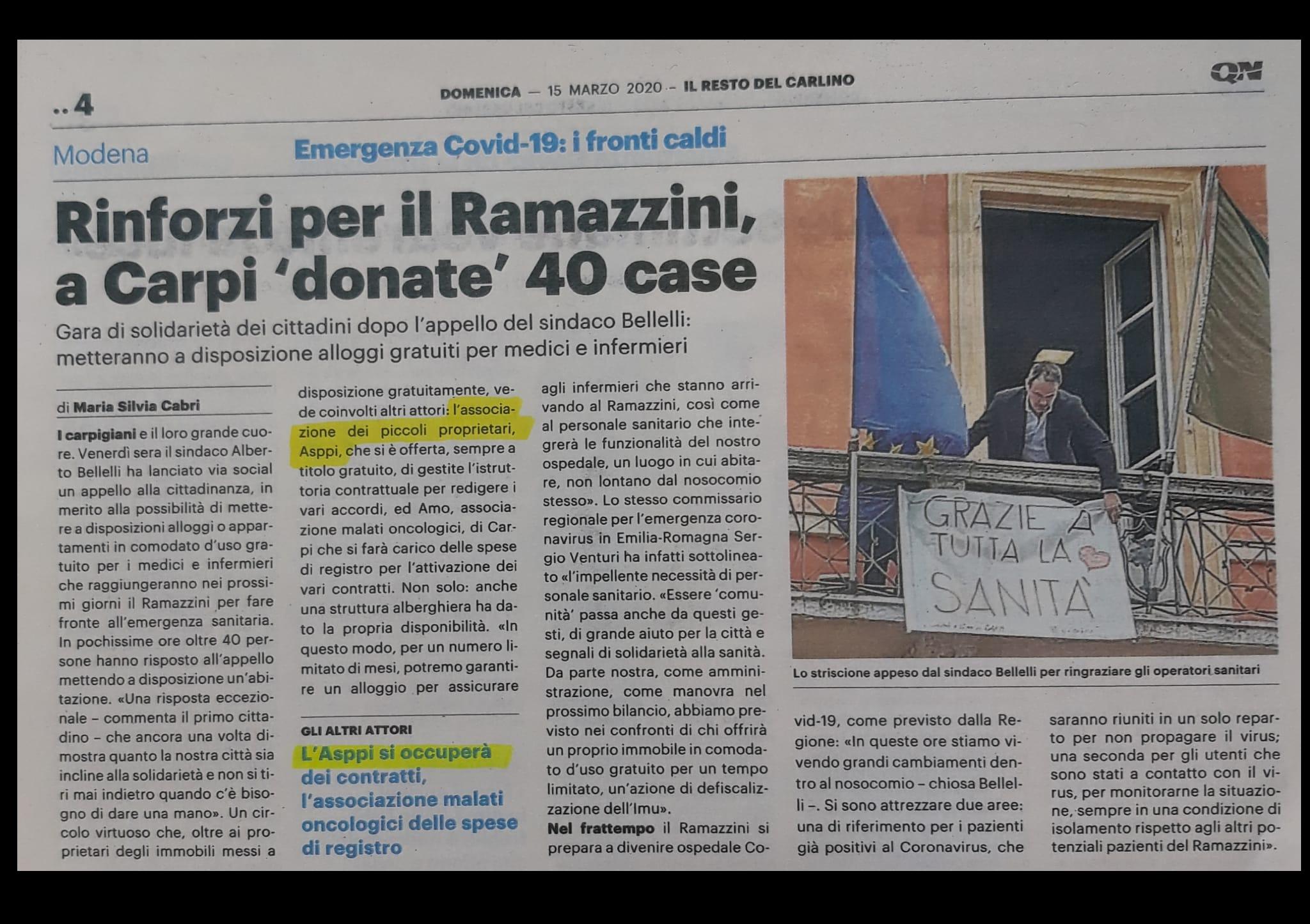 Rinforzi per il Ramazzini, a carpi 'donate' 40 case