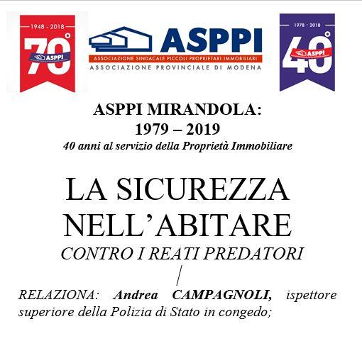 Asppi Mirandola 22 giugno: incontro sul tema la sicurezza nell'abitare contro i reati predatori