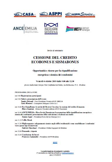 Invito al seminario: Cessione del credito Ecobonus e Sismabonus