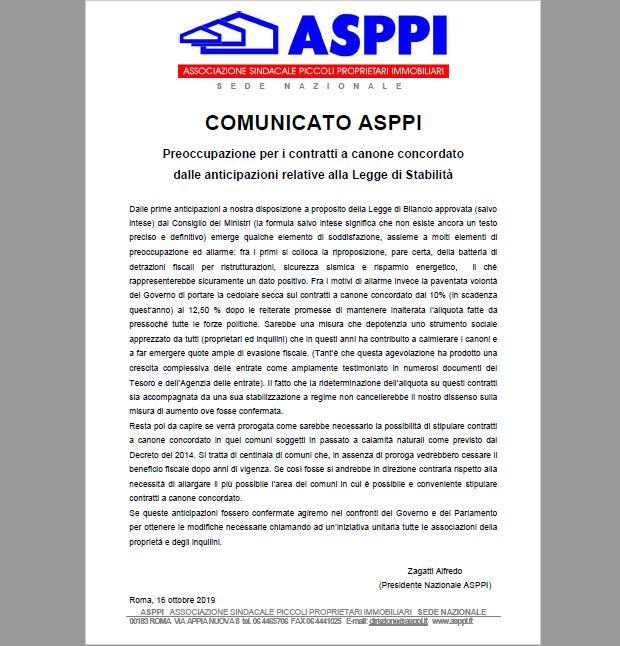 Preoccupazione per i contratti a canone concordato dalle anticipazioni relative alla Legge di Stabilità